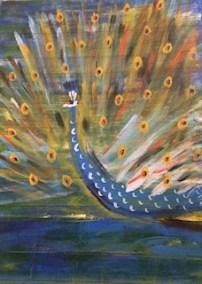 "Susan Pollet, Summer Peacock Plumage, Acrylic on canvas, 9""x12"", $350"