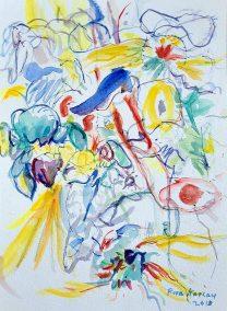 "Riva Kaplan, Hidden Thoughts , Watercolor, 14""x10.5"", $215"