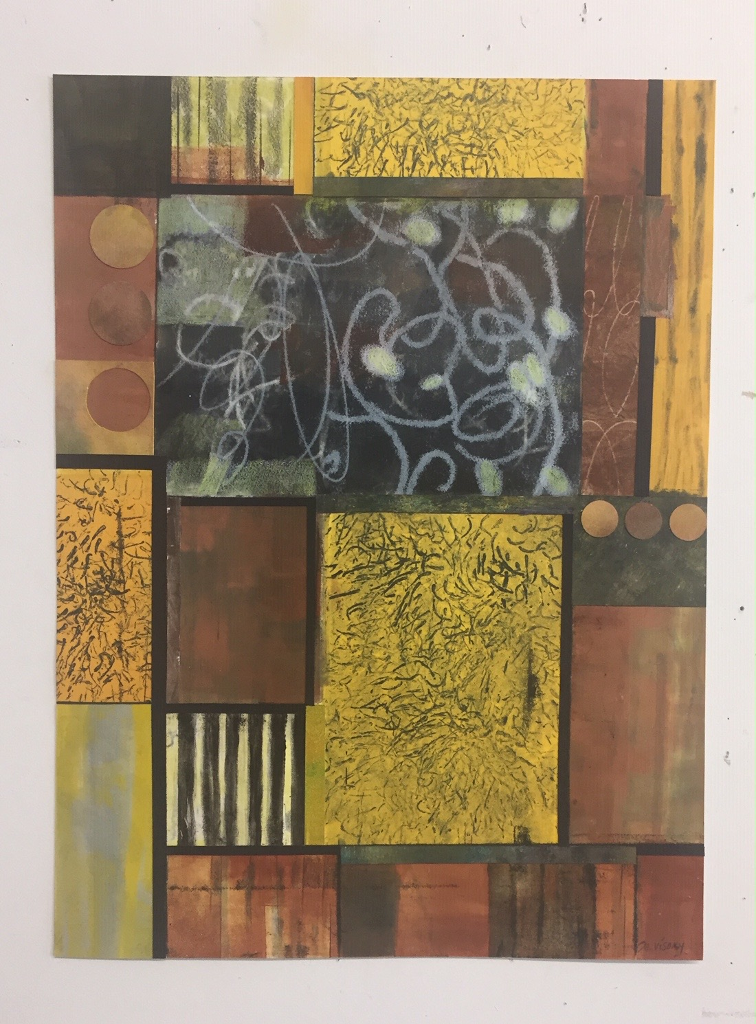 """Mitchell Visoky, Circuits, Monotype, collage, color pencil, 24""""x18"""" unframed, $600"""