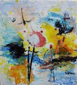 "Fabian Wes Fleurant, Morning Sun at Sea, Acrylic on Foam board, 12""x14"", $500"