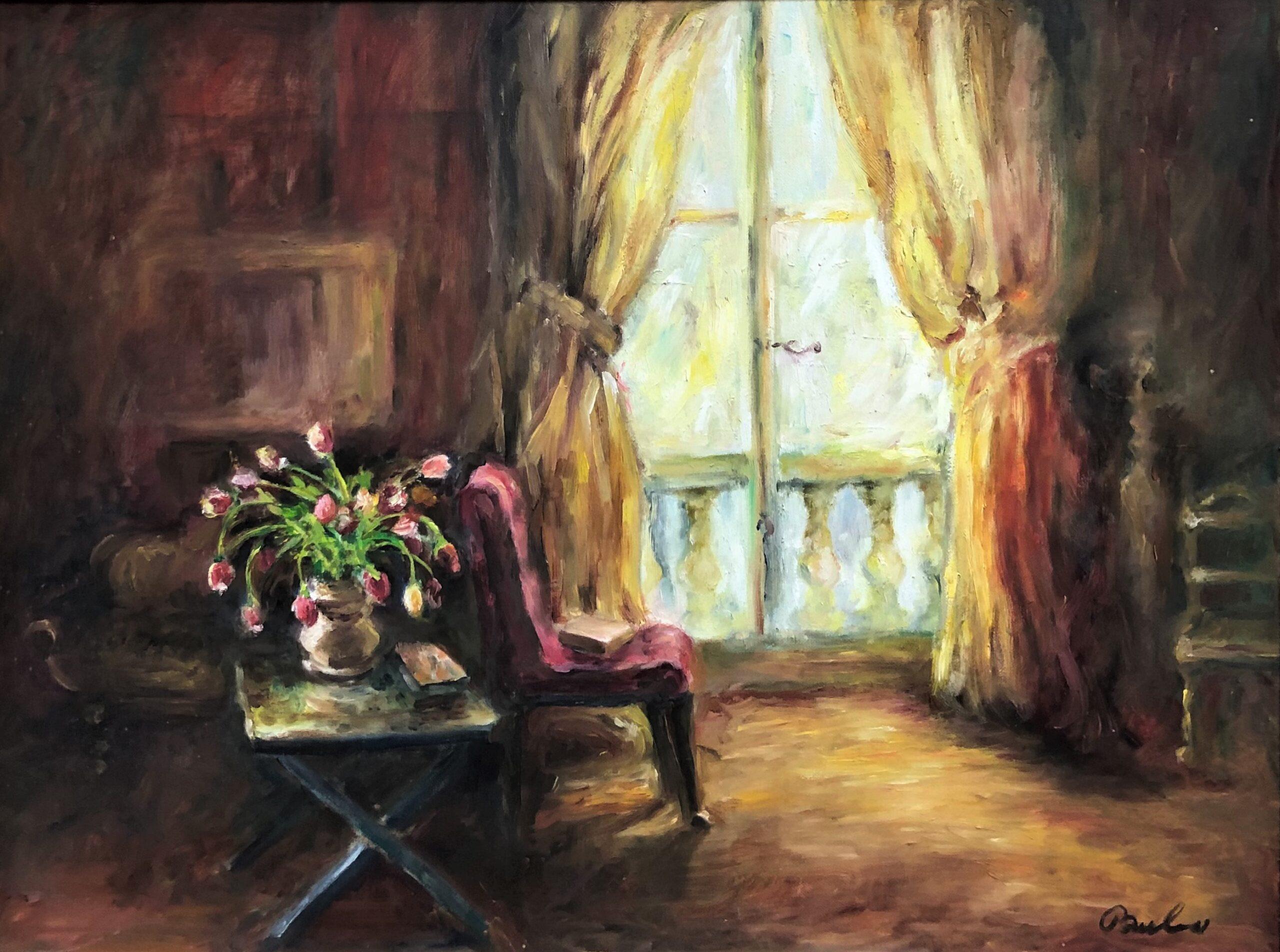 "Sherri Paul, Red Chair, Oil, 18""x24"", $650"