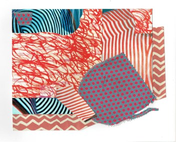 """Chris Timmons, Red State 1, Mixed-media collage, 13""""x18"""" unframed, $350"""