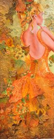 "Lisette Overweel, Fall Queen, Mixed acrylics, 16""x40"", $900"