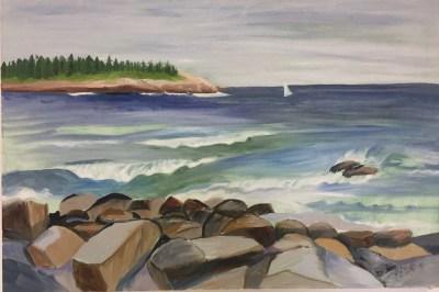 "Hilda Green Demsky, Happy Sail, Oil on canvas, 20""x30"", $900"