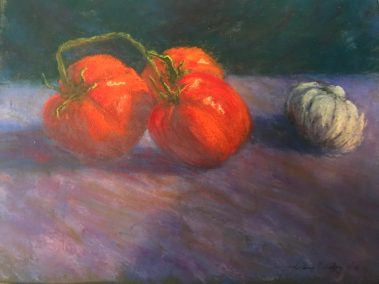 """Arlene Oraby, Saucy Tomatoes with Garlic, 16""""x20"""", $650"""