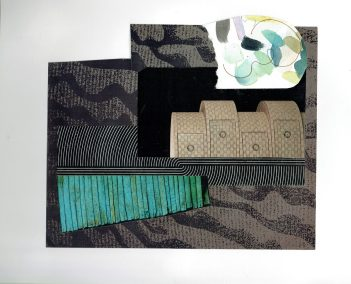 """Chris Timmons, Lining Up, Mixed Media Collage, 18""""x13"""" framed, $450"""