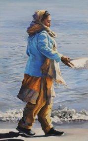 "Julia Eisen-Lester, The Gatherer, Oil on Canvas, 48""x30"", $4,200"