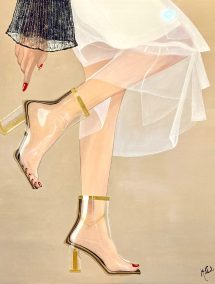 "Mittul Mishra, Walking in style, Acrylic on Wood Panel, 36""x36"", $1,000"