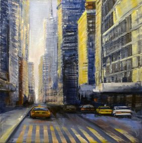 "Jane Black, Heading Downtown, Oil on linen, 24""x24"", $900"