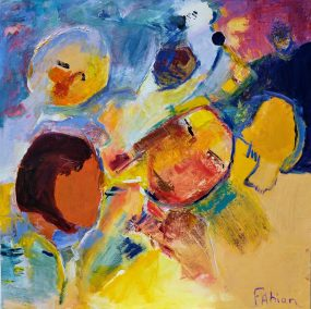 """Fabian Wes Fleurant, Visages without smiles, Acrylic on Canvas, 30""""x30"""", $3,200"""
