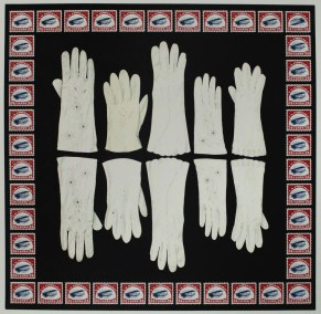 """Diane Cherr, Left Hand Jenny, Photopolymer intaglio with Screenprint and chine colle, 16""""x16"""", $1,300 - SECOND PLACE"""