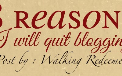8 Reasons I Will Quit Blogging {Walking Redeemed}
