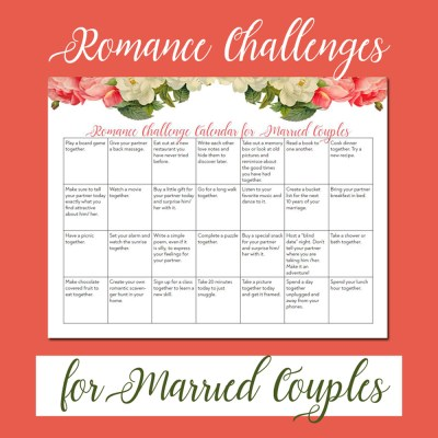 Married Couples Romance Challenges Calendar