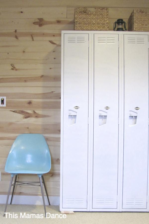 white lockers, pine wall