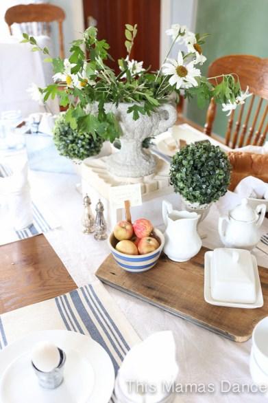 farmhouse table setting drop cloth runner-1