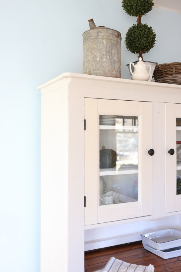 Farmhouse Hutch Makeover, Miss Mustard Seed Grain Sack, Matte Black Hardware| This Mamas Dance-18