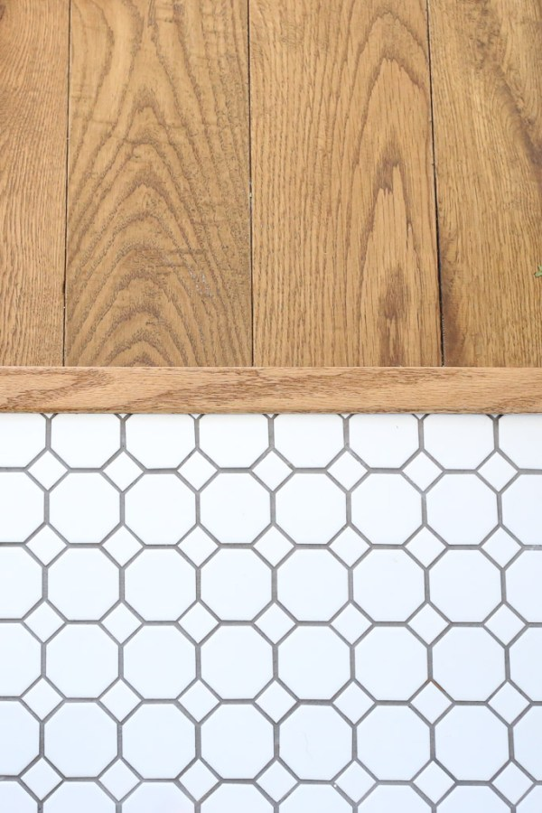 Octagon and Dot Tile next to Oak Flooring| This Mamas Dance
