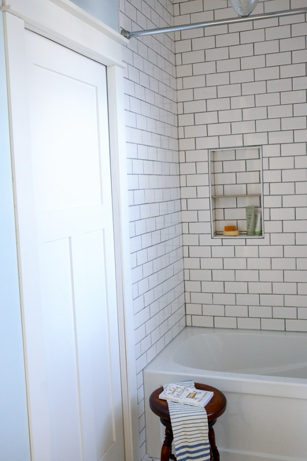 Mission Style Pocket Door, Subway Tile tub surround
