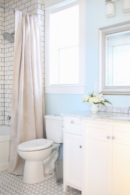 Neutral Shower Curtain, white and blue bathroom-1