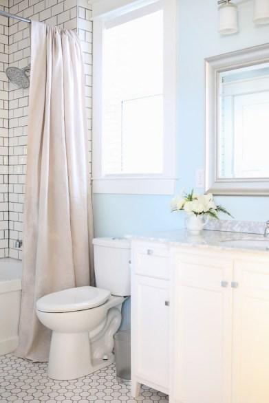Neutral Shower Curtain, white and blue bathroom-1