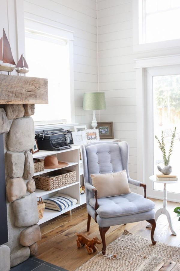 Blue Tufted Wingback Chairs, Coastal Living Room | This Mamas Dance-11