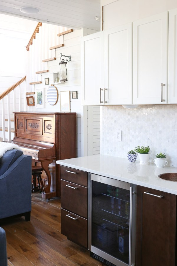 White Upper Cabinets, Dark Wood Lower Cabinets|This Mamas Dance-6