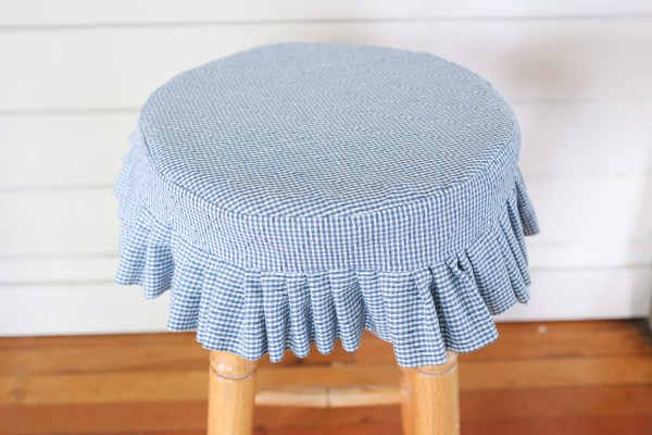 Blue and White Gingham Stool Cover | This Mamas Dance-6