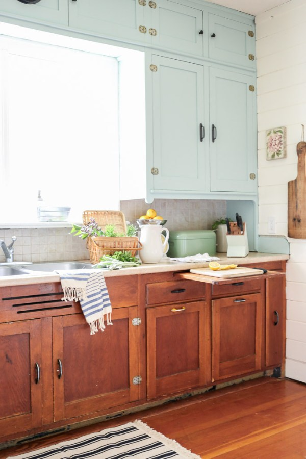 Farmhouse Kitchen, Mint Upper Cabinets, Wood lowers | Mamas Dance-3