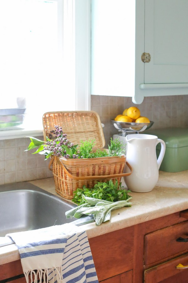 Farmhouse Kitchen, Mint Upper Cabinets, Wood lowers | Mamas Dance