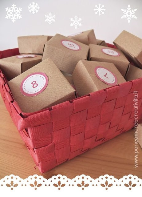 Calendario adviento cajas cesta