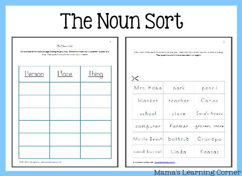 The Noun Sort  Mamas Learning Corner