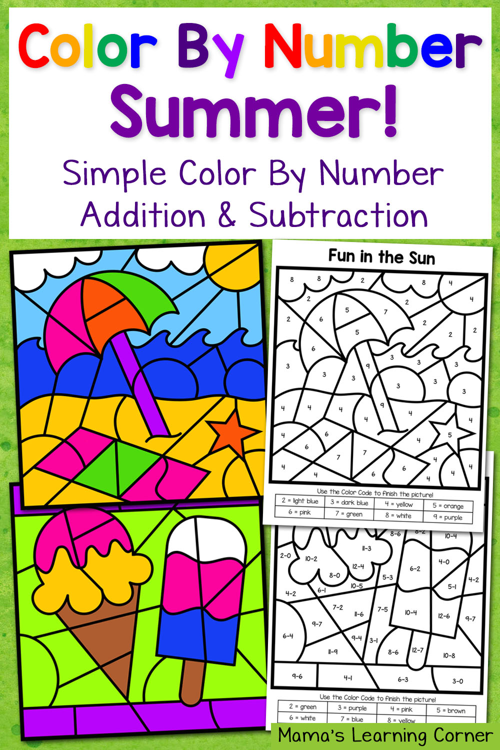 Summer Color By Number Worksheets With Simple Numbers Plus Addition And Subtraction  Mamas