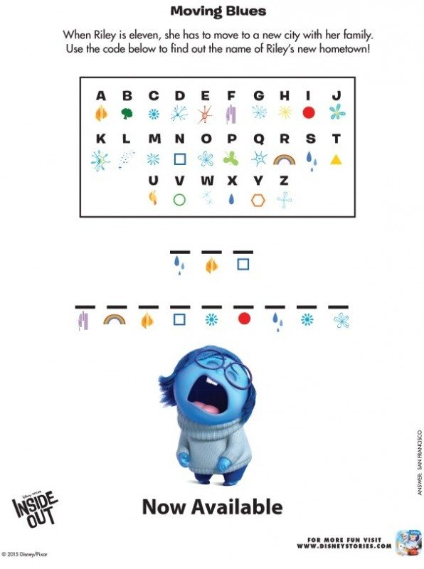 Inside Out Printable Activity Sheets and Games