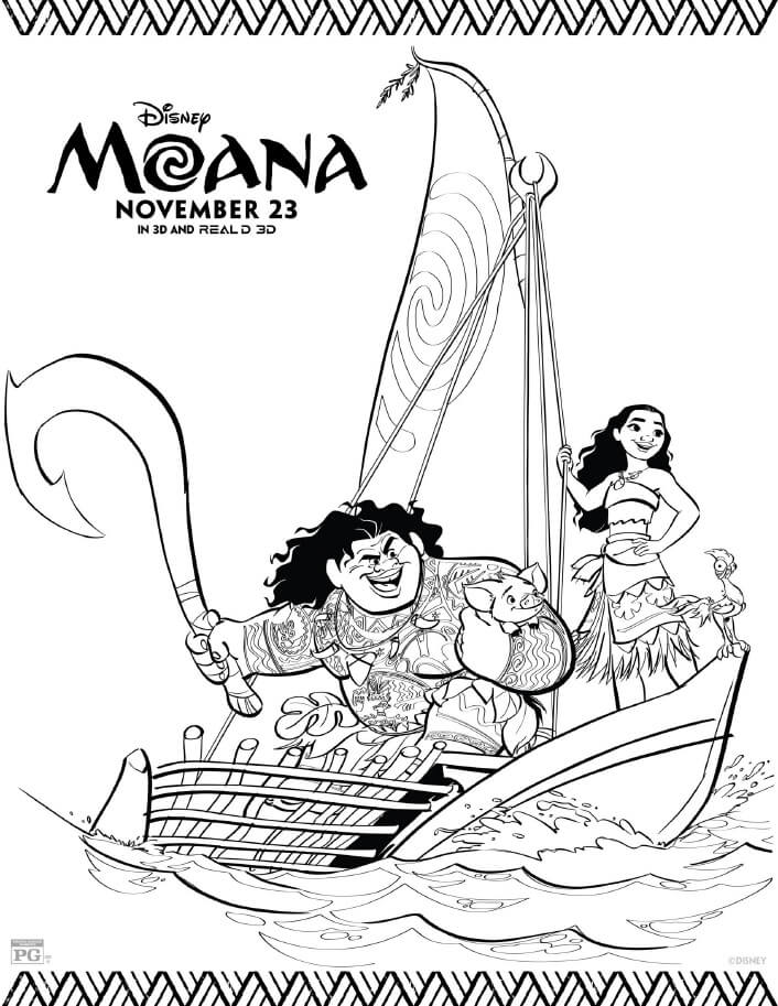 Disney Moana In Theaters Now! Free Moana Coloring Pages
