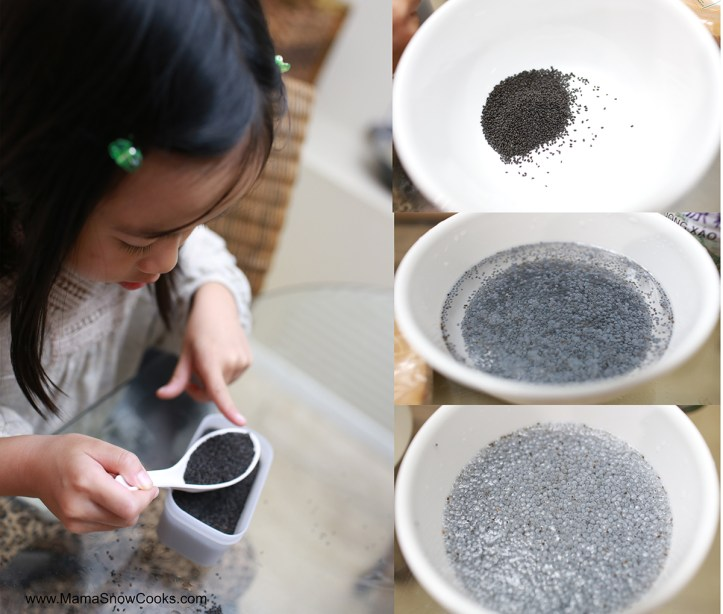 While Boiling The Sugared Water Soak The Basil Seeds And Poontalai Seeds In Water In Separate Bowls Until It Expands This Takes About  Minutes