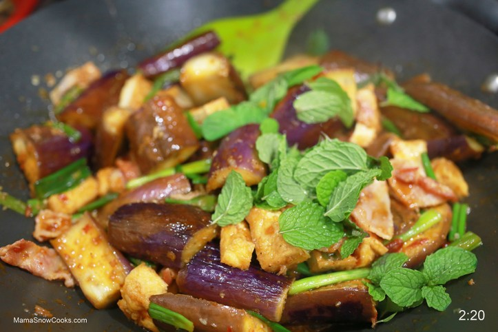 Stir Fry Chinese Eggplants with Tofu and Bacon in Spicy Shrimp Sauce 021620 (11)