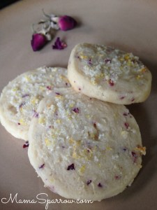 Lemon Rose Shortbread Cookies