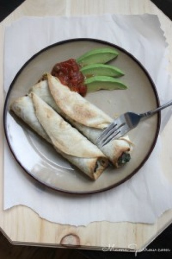 Spinach Black Bean Flautas