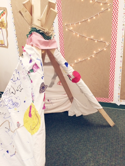 Make a cooperative teepee to use as your class reading nook.