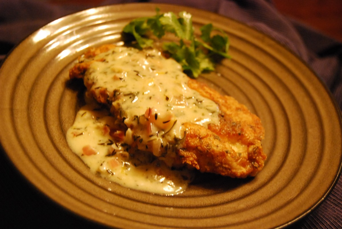 Herb  ParmesanCrusted Chicken Breast with Lemony White