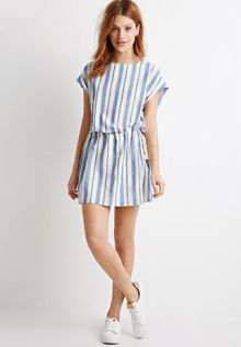 Striped Shift Drawstring Dress $22.90
