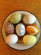 green at top is matcha – you can see the effect if you don't rinse the goop off; bottom left and upper right rested in jagged egg cups full of dye; tape was used on others as initial and pattern decals