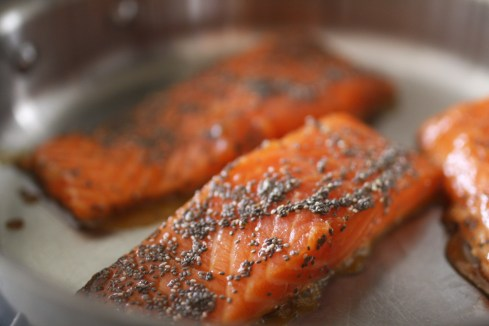 Saute salmon over med-high heat 1 min per side.