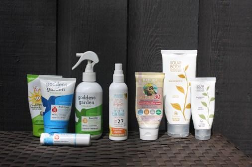 From left to right: Goddess garden (cream, spray, stick), Green Beaver Natural Mineral Sunscreen Spray for Kids, Badger, Devita Solar Body moisturizer (for body & face)
