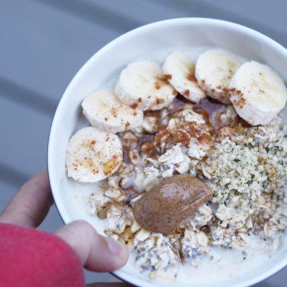 banana, hemp seeds, almond butter, maple syrup & cinnamon