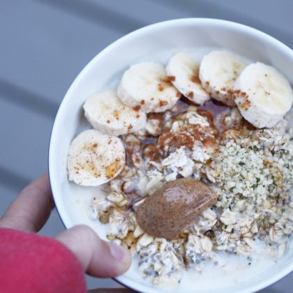 banana, hemp seeds, almond butter, maple syrup & cinnamon