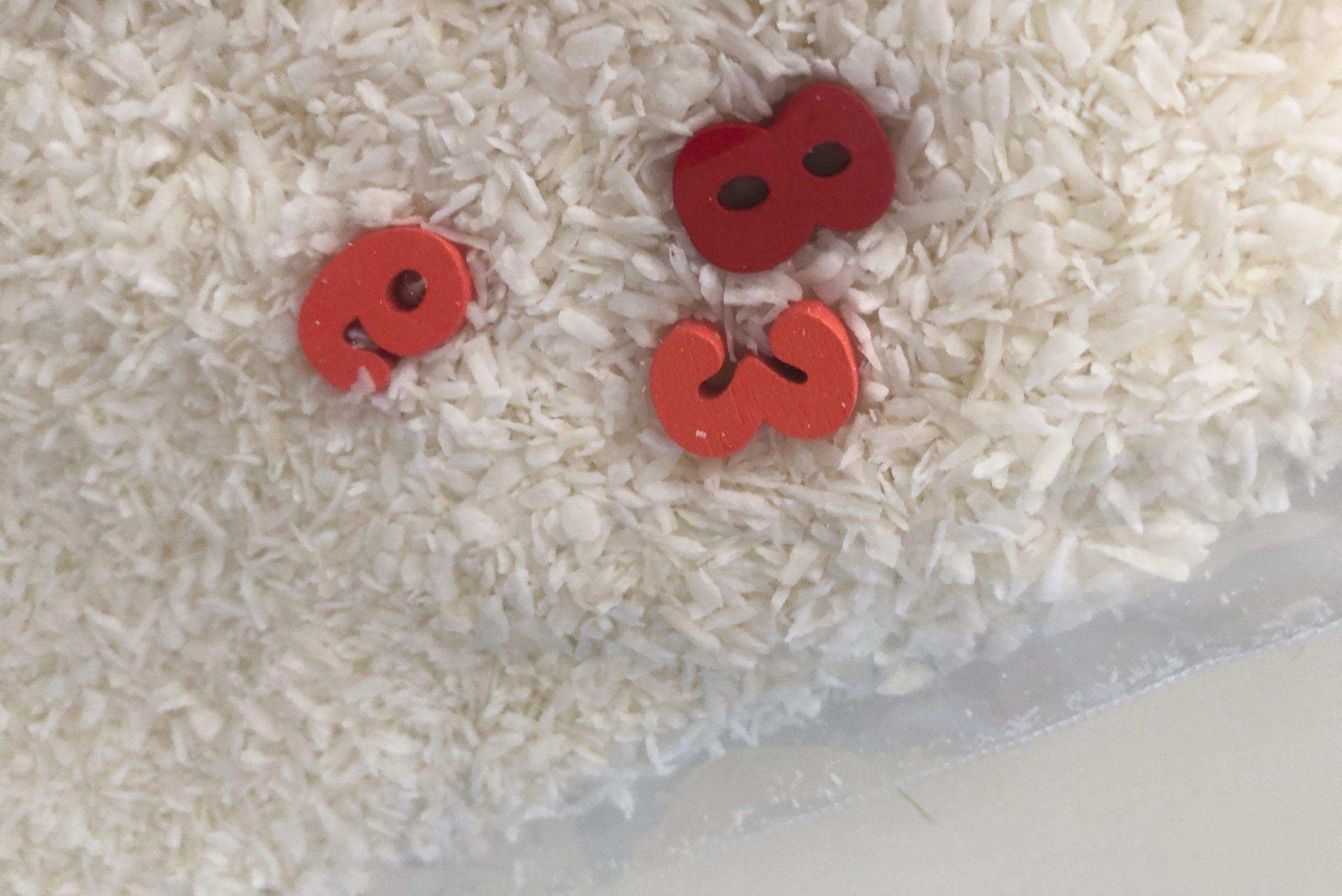 bolsa sensorial con coco rallado