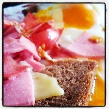 Fried egg, ham, cheese and toast