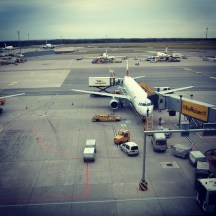 Waiting at the gate G32 of Vienna International Airport
