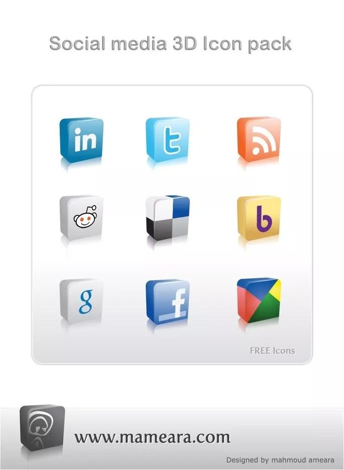 Free Social media 3D icon pack - Social Media 3D Icon Pack